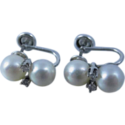 Vintage 1970s Gorgeous 14k White Gold Diamonds & Cultured Pearls Earrings