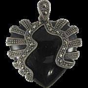 Vintage 1940s Sterling Silver Black Onyx & Marcasites Heart Pendant