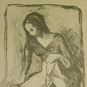 Vintage Lithograph Print of Ballerina by Moses Soyer (1899-1974)