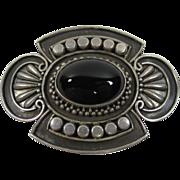 Vintage Sterling Silver & Oval Black Onyx Brooch Pin