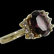 Vintage 14k Yellow Gold Rubellite Tourmaline & Diamonds Ring