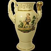 Antique Scenic Hand Painted Porcelain Coffee Pot c. 1820s