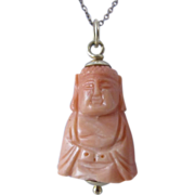 Vintage Carved Pink Coral Buddha Pendant 14k Yellow Gold Chain