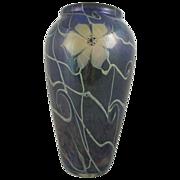 1980s Vandermark Studio Art Glass Large Blue Flower Vase