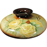 PH Leonard Vienna Austria Hand Painted Squat Floral Vase 1908