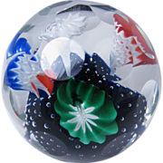 Faceted Italian Murano Multi Colored Flowers Glass Paperweight Italy
