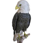 Hand Carved and Painted Sculpture of American Bald Eagle by Richard Koeditz c. 1990s