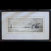 """Original Etching """"Dumbarton Rock"""" by English Artist William Lionel Wyllie (1851-1931)"""