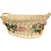 Antique German Porcelain Centerpiece Basket by Dresden Germany 1900s