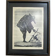 American-Mexican Signed Lithograph El Chichicuilotero by Pablo Esteban O'Higgins (1904-1983)