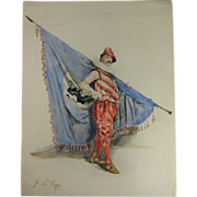 Watercolor of a Military Man Bearing a Flag XIX-XX c.