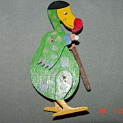 Vintage Wooden Hinged Puffin Ornament