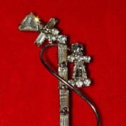 Nice Stick Telephone Rhinestone Pin - Vintage