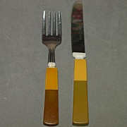 Child's Rare Two Tone Bakelite Fork and Spoon Set