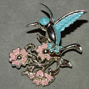 Vintage Trembler Brooch - Hummingbird Hovering Over Flowers