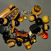 Vintage Bakelite Button Charm Bracelet - Made Recently