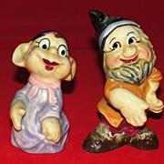 Vintage Pair of Seven Dwarfs Salt and Pepper Shakers Japan