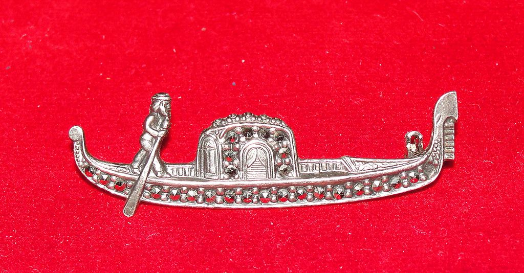 Vintage 800 Silver and Marcasite Gondola Pin - Great Details