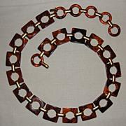 Vintage Root Beer Bakelite Link Belt by Yves St Laurent