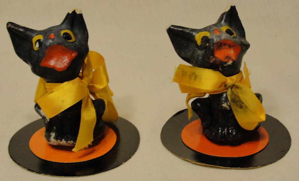 Pair of Papier Mache Halloween Black Cats