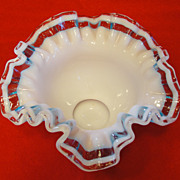 Rarest Fenton Triple Crest Glass Bowl - Aqua Crystal Crest