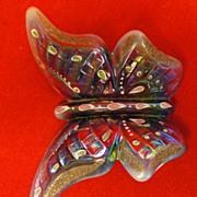 Handpainted Plum Opalescent Fenton Glass Butterfly Martha Reynolds