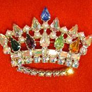 Vintage 50's Sparkling AB Rhinestone Crown Tiara Brooch Pin