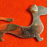 Sterling Silver Daschund Dog Pin Brooch