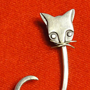 Vintage Sterling Silver Modernist Cat Pin - Mexico