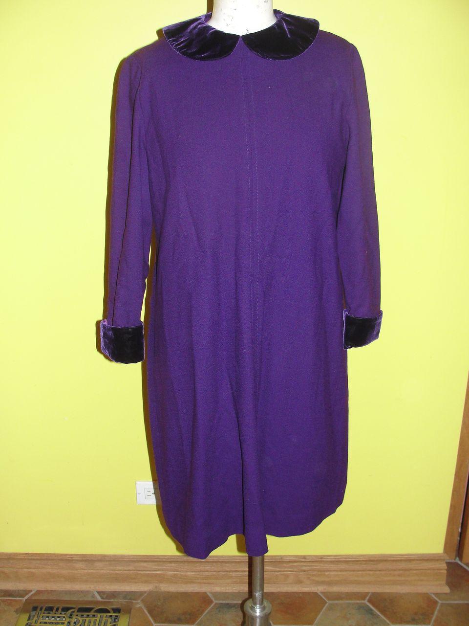 Deep Purple Wool Dress with Velvet Collar and Cuffs