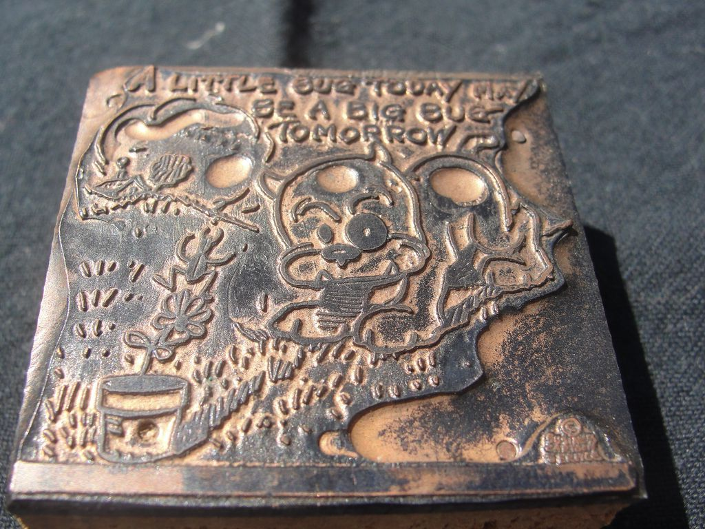 Copper Printing Block #13 Buster and the Bug - Free shipping