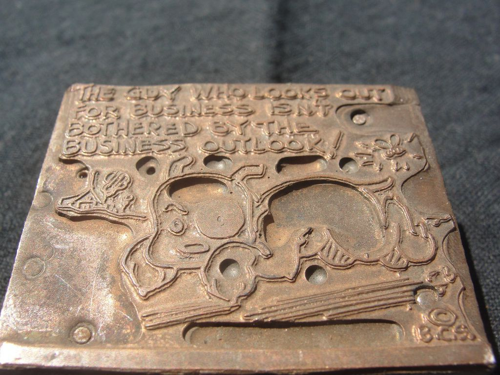 Copper Printing Block #18 Buster Looks out for Business - Free shipping