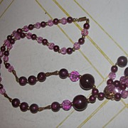 Swirls of Pink and Burgundy Tassel Necklace - Free shipping