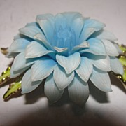 Feathery Blue Flower Pin/Brooch - Free Shipping