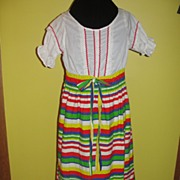 Striped 60's Peasant Dress
