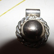Mexican Silver Braid Trimmed Pendent - Free shipping