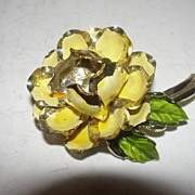 Golden Enamel Flower Pin with Rhinestone Center - Free Shipping