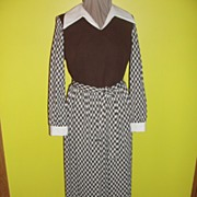 White Collar and Cuffs 70's Brady Bunch Dress