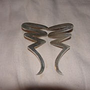 Mexican Silver Modern Squiggle Pierced Ear Earrings - Free Shipping