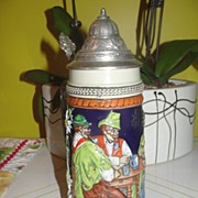 Tall Gerz beer Stein with Drinking Buddies - b29