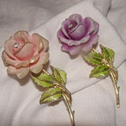 Violet or Pink Rose with Green enamel Leaves Pin - Free Shipping