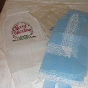 Fancy Blue and Merry Christmas Aprons - Free shipping - b26