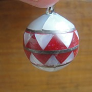 Mexican Silver Mother 0f Pearl Sphere Pendant - Free Shipping