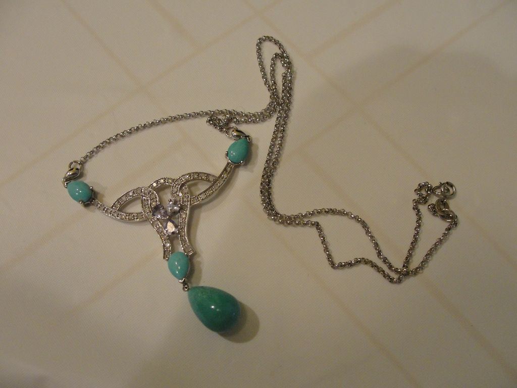 Tanzanite, Turquoise and Diamond Accent Necklace in 10K white gold - Free shipping