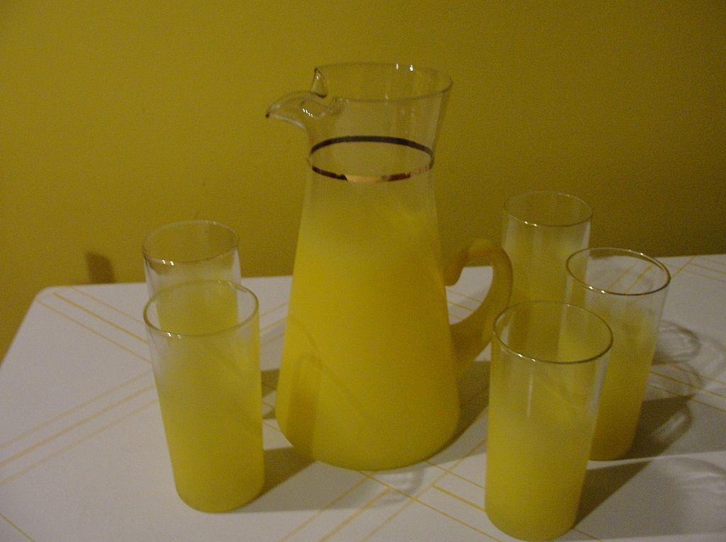 Frosty Lemon-ade Pitcher and Glasses - b32