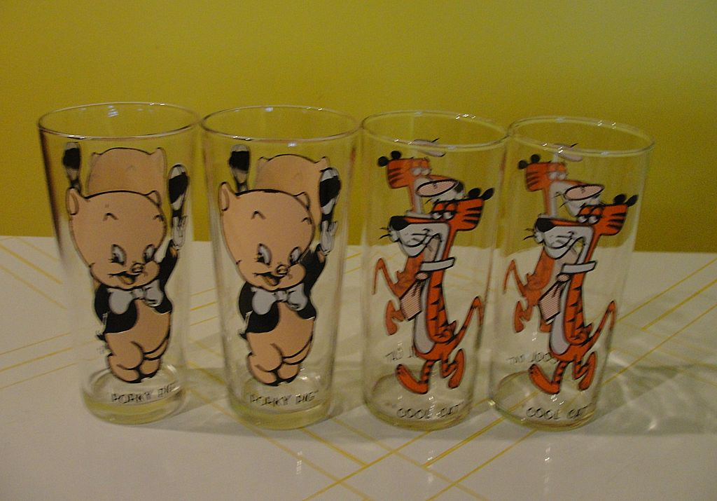 Cool Cat and Porky Pig 1973 Pepsi Collector Glasses - b31