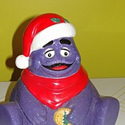 Grimmace in Santa Hat  Cookie Jar