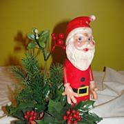 Celluloid Santa on a Yule Log - b35