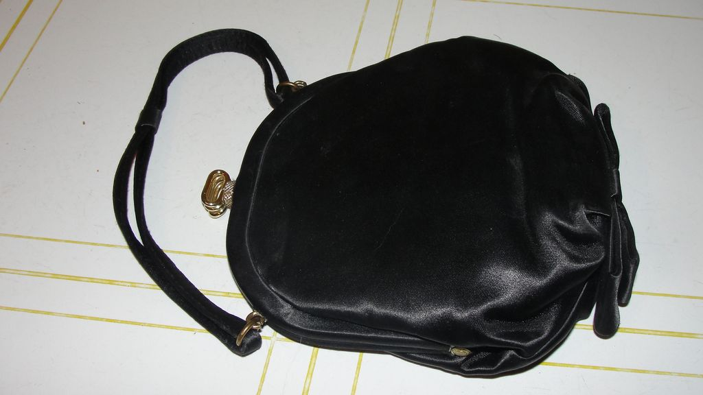 Black Satin Evening Bag with bow - b34