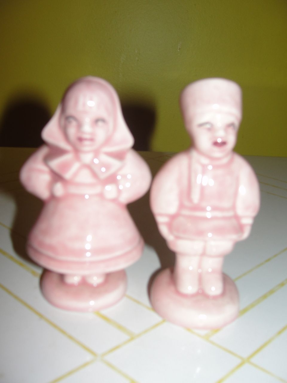 In the Pink Russian Lady and Man Salt and Pepper Shakers - b34